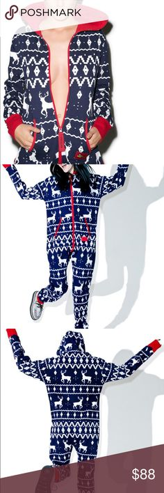 Fair Isle Jumpsuit Tipsy Elves Blue Fair Isle Jumpsuit. This cozy hooded onsie in royal blue fuzzy luxury features a fair isle knit pattern that's has reindeer prancing across your body. Complete with a fleece lining, this snow-brainer has two zipper pockets, two open pockets, a hood, and a double zip closure. Christmas, holiday, pajamas, ugly sweater, santa, Bodysuit.  Materials: 80% Cotton, 20% Polyester Machine Washable Model wears S and is 5'6 0022 Intimates & Sleepwear Pajamas