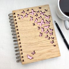 Flutter By Butterfly Wooden Notebook - different colours available - Butterflies - Recycling Logo A5 Notebook, Notebook Design, Front Cover Designs, Wood Burning Kits, Friends Picture Frame, Laser Cutter Projects, Laser Art, Cnc Wood, Personalized Notebook