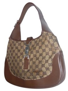 1b7e87d36d7d Gucci Jackie Vintage Style Shoulder Purse Brown Large G Logo Print Canvas  and Brown Leather Leather. Tradesy