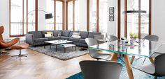 BoConcept Osaka sofa, Imola chair, Kuta lamp, Lugo coffee tables, Monza dining table, and Adelaide chairs,