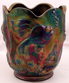 Fenton Amethyst Purple Carnival Glass Vase Atlantis Fish Sea Pattern 1970's  #Fenton
