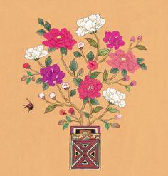 사랑꽃병 가을_오렌지 Korean Art, Asian Art, Pattern Illustration, Graphic Illustration, Persian Pattern, Small Canvas Art, Flower Bird, Nature Prints, Ink Painting
