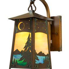 "America's Finest Lighting Company Baldwin 1 Light Outdoor Wall Lantern Size: 11"" H x 5"" W x 8"" D, Shade Finish: Gold Iridescent, Finish: Architectu..."
