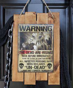 halloween zombie front door sign