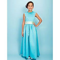 A-line Jewel Ankle-length Satin Junior Bridesmaid Dress – USD $ 79.99