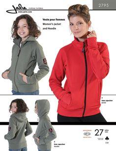 Jalie 2795 - Jacket and Hoodie - Sewing Patterns Hoodie Pattern, Jacket Pattern, Coat Pattern Sewing, Sewing Patterns, Modern Patterns, Mens Sleeve, Mens Activewear, Hoodie Jacket, Fleece Hoodie