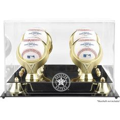 Houston Astros Fanatics Authentic (2013-Present) Golden Classic Four Baseball Logo Display Case - $84.99