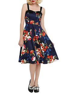 Navy Floral Dress, , hi-res