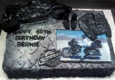 Motorcycle Themed Cake with buttercream and hand-crafted fondant decor