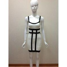 Herve Leger noir et abricot Colorblock sexy v-cou robe bandage H201LBA