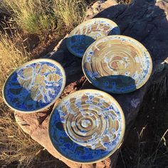 4 dinner plates, 10 1/2 inches - one is a bit bigger  #dinnerplate #dinnerdate #plates #pottery #ceramics #dinner #snack #somethingdifferent