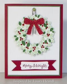 Merry & Bright Wreath - Wondrous Wreath, Good Greeetings, Christmas, holiday.  Wreath can be detached and used as an ornament.  (Sharon Cline - inkup.us)