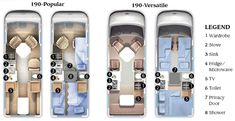 Roadtrek 190 Popular and 190 Versatile class B motorhome floorplans