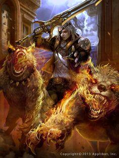 Un super guerrero con sus mascotas