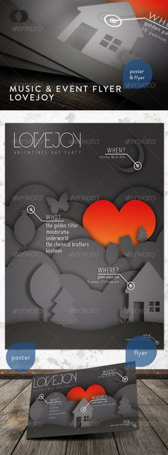 not a papercut, but a poster design in sort of a papercut style. I like the gray on gray and the shadow.     Music & Event Flyer - Lovejoy - GraphicRiver Item for Sale