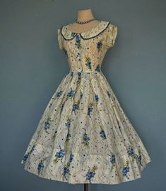 Vintage 1950s Party Dress...Darling Cotton Blue and White Dotted Swiss R & K ORIGINAL Garden Party Dress