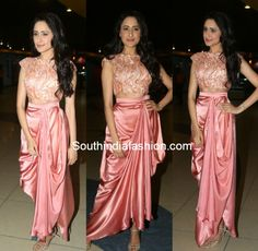 Pragya Jaiswal in Drape Skirt and Crop Top – South India Fashion Prom Girl Dresses, Indian Gowns Dresses, Party Wear Dresses, Nice Dresses, Fashion Drawing Dresses, Skirt Fashion, Indian Designer Outfits, Designer Dresses, Mirror Work Dress