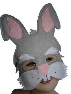 CONEJO gris infantil fieltro mascarilla por MagicalAttic en Etsy