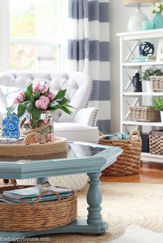 Come tour this beautiful lake house living room and kitchen summer home tour with Country Living at the happy housie-2
