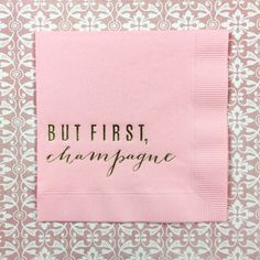 But first, Champagne - Gorgeous gold foil cocktail party napkins in classic pink for your party celebration  - Bonjour Fete - boutique party supplies