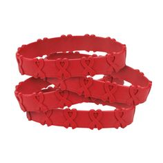 Red Awareness Ribbon Pop-Out Bracelets