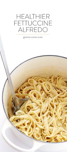 Skinny Fettuccine Alfredo -- lightened up with a few simple tweaks, and so delicious and creamy!   gimmesomeoven.com