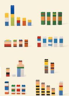 Minimalist cartoon characters made in Lego