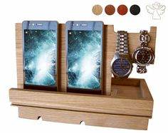 Docking station Father's day gift Phone stand wood Phone