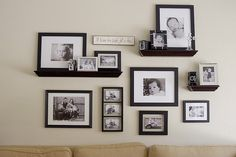Photo Wall Layout - photos on wall AND shelves