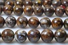 47 pcs of Brown Peruvian Opal smooth round beads in 8mm