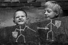 """Cute photo idea...chalk draw stick figures and put your subjects strategically placed next to them to """"be"""" the stick figures."""
