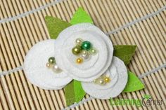 #DIY #tutorial - finished white camellia flower hair clip