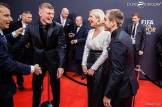 Toni Kroos, Philipp Lahm et sa femme Claudia - Gala FIFA Ballon d'Or 2014 à Zurich, le 12 janvier 2015