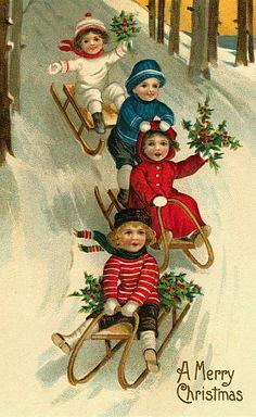 children sledding; printable vintage Christmas cards and images
