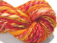 handspun art yarn Great Balls of Fire thick by SpinningWheelStudio, $32.00