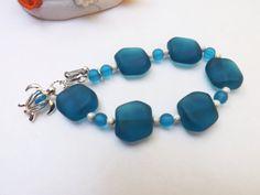 Blue sea glass bracelet bold sea glass bracelet by lyrisgems, $32.00