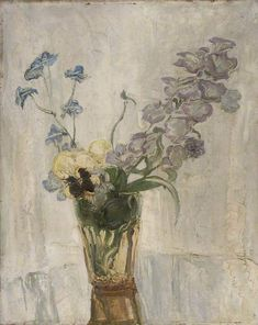 William Nicholson (English, 1872-1949), Flowers in a Vase, 1949. Oil on panel, 41 x 33 cm.