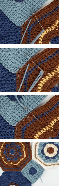 Crochet Afghans Seaming Crochet Afghans Tutorial - using the mattress stitch - When you are sewing crochet afghans together, there are several seaming options. I decided to use the mattress stitch seam. Crochet Afgans, Crochet Quilt, Crochet Squares, Love Crochet, Crochet Granny, Crochet Motif, Crochet Yarn, Crochet Blankets, Granny Squares