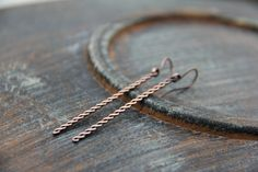 Minimalist, simple twisted bar earrings, long dangle earrings, line, stick earrings in gold fill, sterling silver, silver 925 or copper by Keepandcherish on Etsy