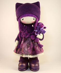 RAG DOLL - Zooey ready to ship winter holiday christmas gift handmade 13 inch cloth girls purple by DollsLittleAngels on Etsy