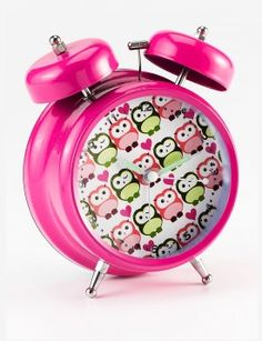 Hot Pink Double Bell With Pink And Green Owls Alarm Clock
