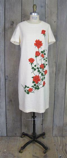 Vintage Linen Alfred Shaeen Dress, Medium / Large