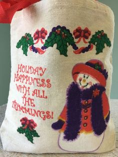 Mini Small Canvas Christmas Gift Bag Purse Natural Ivory Snowman Happy Holidays  #Unbranded #ToteBag