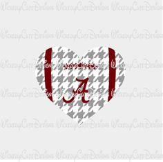 Alabama Football Heart SVG, DXF, EPS, PNG Digital File
