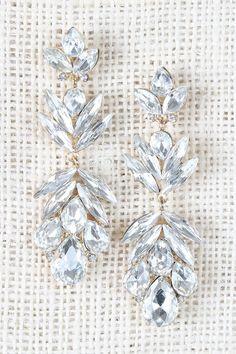 Teardrop Rhinestone Cluster Dangle Earrings