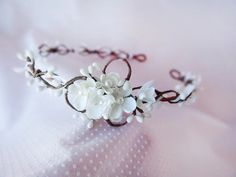 bridal hair piece wedding headpiece white flower by thehoneycomb