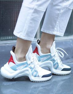 3 Chic Ways French Women Do the Ugly Sneaker Trend Lous Vuitton ugly sneakers Dad Shoes, Ugly Shoes, Women's Shoes, Sneakers Fashion Outfits, Fashion Shoes, Women's Fashion, Sneakers Fila, Sneakers Workout, Dad Sneakers