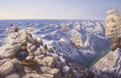 Magic Realism in Rob Gonsalves Fine Art via Magritte Optical Illusion Paintings, Amazing Optical Illusions, Magic Illusions, Canadian Painters, Canadian Artists, Robert Gonsalves, Rene Magritte, Magic Realism, Surrealism Painting