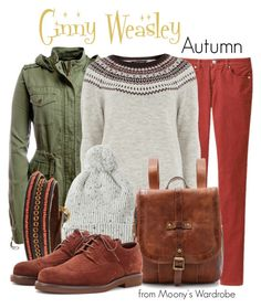 Ginny Weasley: Autumn by evalupin on Polyvore featuring Dorothy Perkins, Aéropostale, Uniqlo, Loro Piana, Frye, Me to We, Toast, harrypotter, ginnyweasley and autumn