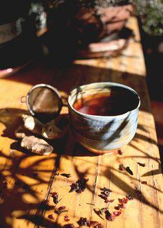 golden tea on a golden wood
